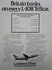 4/1976 PUB LOCKHEED L-1011 TRISTAR AIRLINER DELTA AIR LINES ROLLS ORIGINAL AD