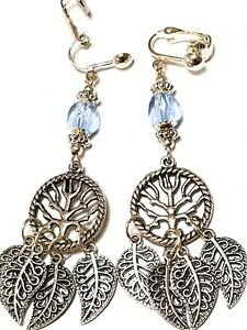 Silver Tree of Life Clip-On Earrings Leaf Chandelier Blue Glass Bead Gypsy Boho
