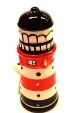 Eierbecher mit Salzstreuer  als Leuchtturm  rot weiß 7x6,5x12 cm 6 mit Löffel