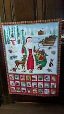 Christmas Advent Calendar Fabric Panel with pockets - made up and ready to use