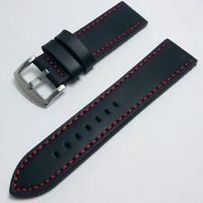 24mm 'True Black' Premium Handmade Cowhide Leather Strap - 24 mm Watch Band
