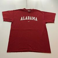Vintage Nike Alabama Crimson Tide T-Shirt Size XL Red Swoosh Spell Out NCAA Mens