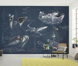 Boy's Bedroom Wall decor Photo Wallpaper Mural 157x110inch Star Wars navy blue