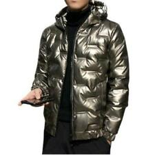 Men Shiny Youth Casual Loose Thicken Warm Shorts Hooded Down Puffer Jacket New L