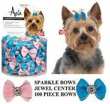 100 Maddie SPARKLE JEWEL ACCENT GROSGRAIN RIBBON DOG HAIR BOWS Groomer Grooming