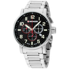Wenger Attitude Chrono Black Dial Stainless Steel Men's Watch 010343105