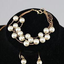 Women Fashion Charm Bridal Pearls Silver Plated Necklace Earrings Bracelet Set