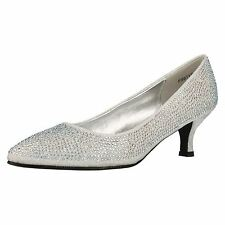 Ladies Anne Michelle F9811 Black, Gold Or Silver Glitter Evening Court Shoes