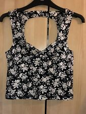 Forever 21 Black & White Floral Sweetheart Top With Cut Out On Back Size S BNWT
