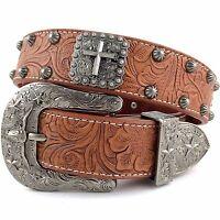Premium Western Cowboys Mens Genuine Leather S Cross Tooled Concho Buckle Belt