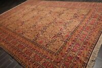 "9'8"" x 14'1"" Hand Knotted 100% Wool Traditional Oriental Area Rug Tan  10' x 14'"