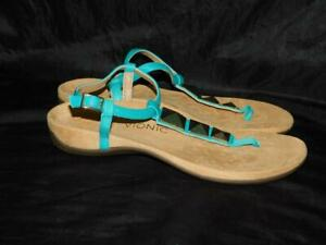 Vionic 9 41 Teal Blue Nala T-Strap Sandals Gold Thong Ankle Strap Orthoheel Flat