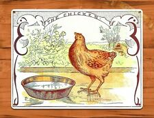 TIN SIGN The Chicken Ink Print Crate Rooster Chicken Farm Barn Coop