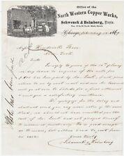 RARE 1869 Illustrated Advertising Letterhead Northwestern Copper Works Chicago