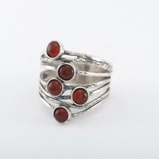 OR PAZ .925 Sterling Silver Carnelian  Ring, Size 7 & 9, Made in Israel