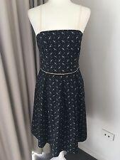 PORTMANS Sz 10 Black/Beige Geometric Print Cotton Cocktail Dress Retro AS NEW