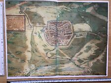 Antique Map of Leiden, Netherlands: 1575 Braun & Hogenberg REPRINT 1500s Tudor