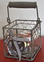 #10117 Windlicht Drahtkorb Teelichthalter Herz Schleife NEU Garten Shabby Chic