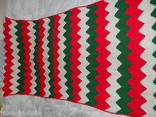 "HANDMADE AFGAN Green Red White Striped beautiful Blanket Throw 31"" x 80"" Holiday"