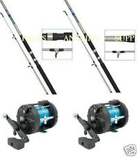 2 X  Shakespeare BETA 7ft Boat Rods and Multiplier Reel with Line