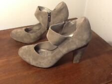 Kenneth Cole Reaction Women SPICY JUICE Gray Suede Mary Jane Side Zip Heel 6.5M