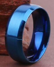 8mm Cobalt Blue Stainless Steel Titanium Size 13 Solid Band Ring USA SELLER