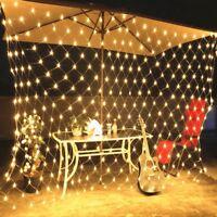 4x6M LED Lichternetz Warmweiß Netz Vorhang Lichterkette Weihnachten Außen Deko