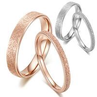 Stainless Steel Rose Gold Silver Frosted Ring Wedding Band Rings Jewelry