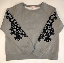 NWT Philosophy Gray Crewneck Pullover Sweater Velvet Embellished Sleeve SZ L