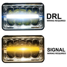 4x6 50W LED Headlight DRL White/Amber H4651 H4652 H4656 H4666 H6545 Replacement