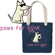 Teddy the Dog Tote Bag Paws for Pink Breast Cancer Awareness Navy Blue Canvas