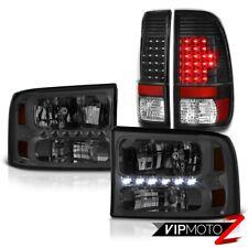 Tinted Crystal SMD LED Headlights Black L.E.D Taillights 99-04 F250 F350 F450 XL