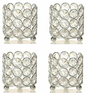 Set of 4 Crystal Tealight Votive Candle Holders For Wedding Table Centerpieces