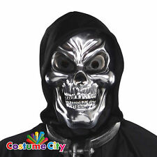 Adults Silver 3D Skeleton Skull Mask Halloween Fancy Dress Costume Accessory