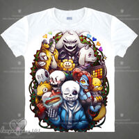 Game White T-Shirt Undertale Sans Otaku Pullover Short Sleeve Cosplay Tops #Lz84