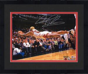 "Framed Dennis Rodman Chicago Bulls Autographed 11"" x 14"" Dive Photograph"