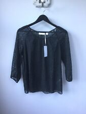 BNWT Gorgeous Ladies The White Company Black Cross Stitch Top, UK Size 12, Tagge
