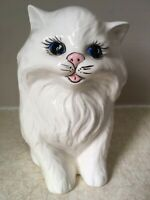 "6"" Ceramic CAT FIGURINE White PERSIAN Blue Eyes LONG HAIRED Vintage DAMAGED"