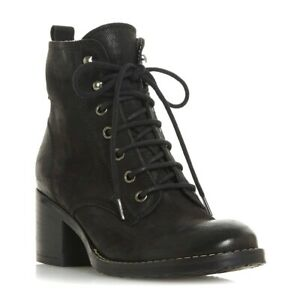 Boxed Dune Womens Black Nubuck Leather Patsie Warm Lined Ankle Boots