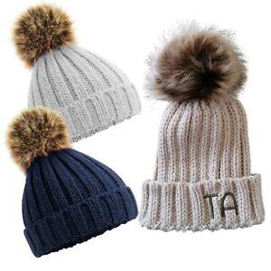 Personalised Pom Pom Hat for Girls Boys Ladies - Single Faux Fur Bobble Hat