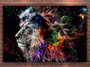 Lion Print Abstract Painting - Premium Canvas Artwork for Interior Home Decor