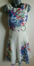 Size 6 Dress Ivory Red Blue Green Floral Fitted Sheer Great Condition Women's