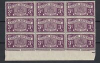 GB KGVI 1950 3d Deep Purple Excise Revenue Block of 9 MNH/MH J5633