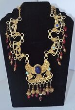 Vintage Scarab Enamel Egyptian Necklace Beetle Bug Gold Tone N81