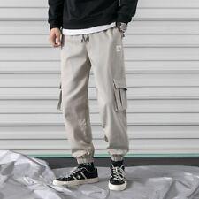 Men's Pocket Baggy Harem Pants Loose Fit Cargo Trousers Hip Hop Casual Plus Size