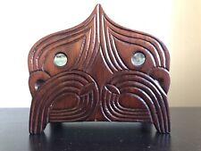 Vintage Carved Maori Wood Napkin Paper Holder Mask Eyes Figural New Zealand Art
