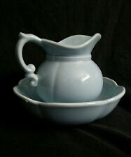 Vintage McCoy Pottery Pitcher & Bowl Set turquoise blue 7528