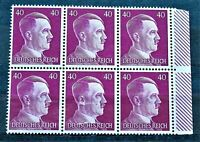 WW2 GENUINE HITLER 3rd REICH ERA GERMAN BLOCK OF 6 STAMPS A.HITLER + MARG 40rf