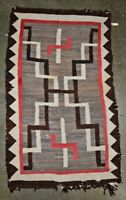 Antique Navajo rug Whirling log motif with wear