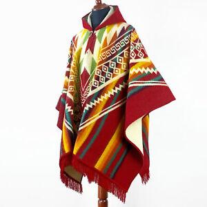 Alpaca wool Hooded Poncho Unisex Aztec pattern all seasons boho hippie XXL RED